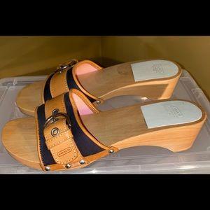 COACH Wooden Sandals/Clogs/Mule Style Size 7